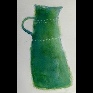 Green jug watercolour, Harriet Brigdale
