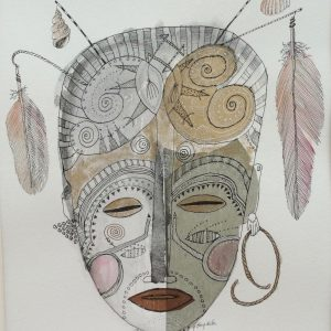 Mask with feathers, Drawing, Harriet Brigdale, Artist