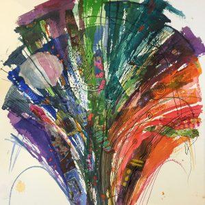 Multy coloured mushroom shape, Drawing, Harriet Brigdale, Artist