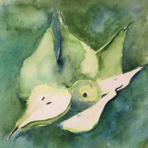 Green pears, watercolour, Harriet Brigdale, Artist