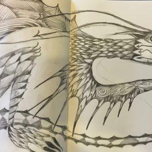 Sketchbook dragon, Drawing, Harriet Brigdale, Artist