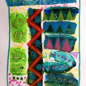 Red zig zag, Abstract, Harriet Brigdale, Artist