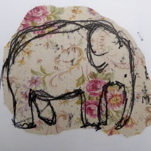 Close  elephant on wallpaper, Harriet Brigdale, Artist