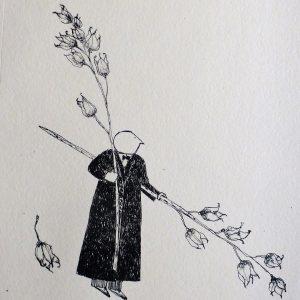 Garden theft seeds, litho, Harriet Brigdale