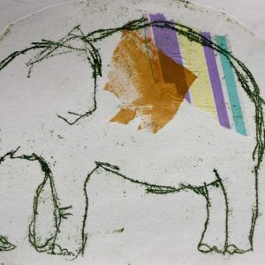 Mixed media elephant, litho, Harriet Brigdale, Artist