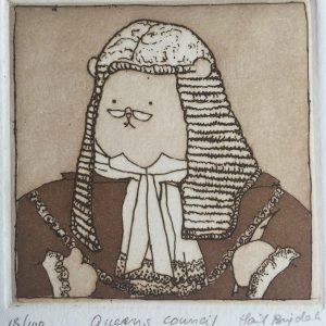 Queens Council, Harriet Brigdale, etching