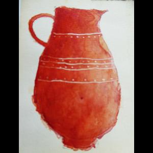Red jug watercolour, Harriet Brigdale