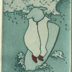 Surfing USA, etching, Harriet Brigdale