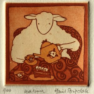 Tea time, etching, Harriet Brigdale, Artist