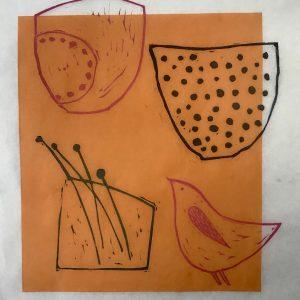 bird and bowls. lino.