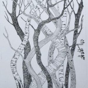 dancing trees. litho