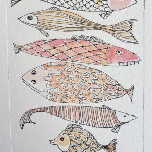 Fish, litho, Harriet Brigdale, Artist