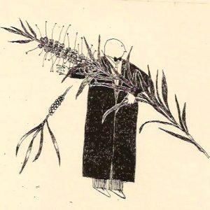 Garden theft bottle brush, litho, Harriet Brigdale, Artist