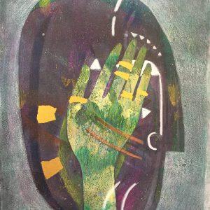 Mask and green hand, masks, Harriet Brigdale, Artist