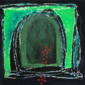 Green door, mono print, Harriet Brigdale SGFA, artist