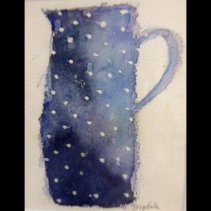 Blue jug, watercolour, Harriet Brigdale