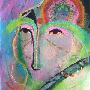 Green eyebrows mask, masks, Harriet Brigdale, Artist