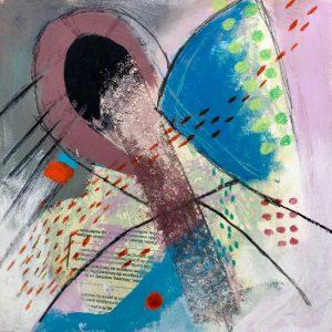 Red footsteps, Abstract, Harriet Brigdale, Artist