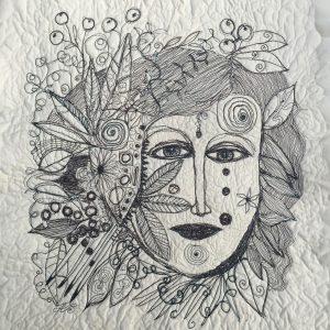 Sewn face, Drawing, Harriet Brigdale, Artist