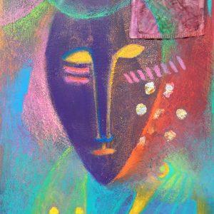 Yellow eyed mask, Drawing, Harriet Brigdale, Artist