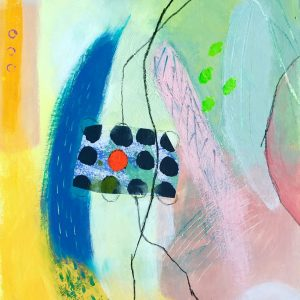 Red dot and black dots, Abstract, Harriet Brigdale, Artist