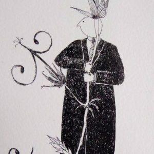 Garden theft geranium seed, litho, Harriet Brigdale, Artist