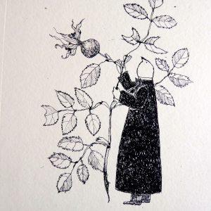 Garden theft small rose, litho, Harriet Brigdale, Artist