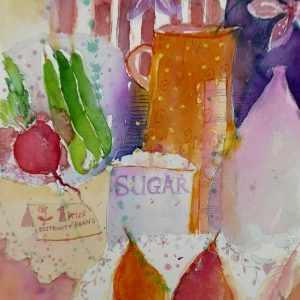 Still life with pears, watercolour, Harriet Brigdale, Artist