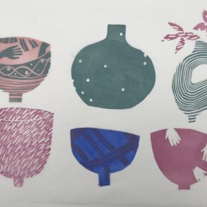 bowls with hands. lino