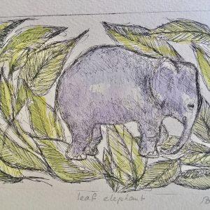 Leaf elephant, litho, Harriet Brigdale, Artist