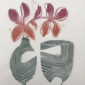 shapes with flowers. lino