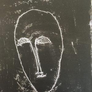 White on black, masks, Harriet Brigdale, Artist