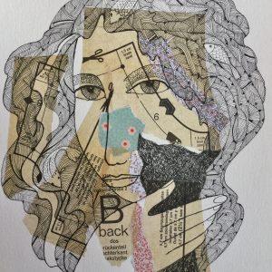 Woman with cat, masks, Harriet Brigdale, Artist