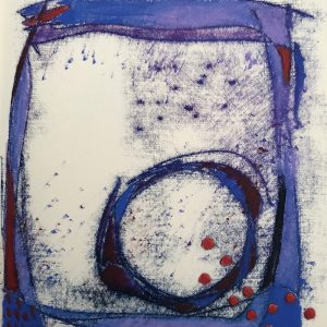 Blue Cage, oil and mono-print., Harriet Brigdale SGFA, artist