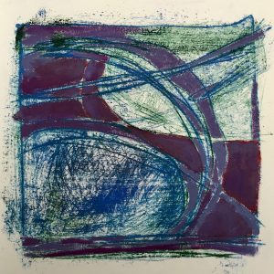 Purple fields, oil and mono-print., Harriet Brigdale SGFA, artist