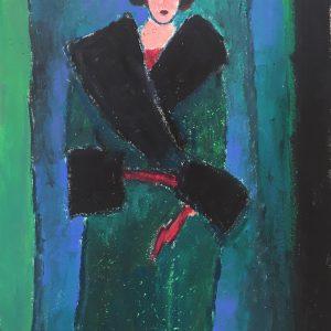 Red gloves, oil painting, Harriet Brigdale SGFA, artist
